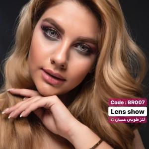 لنز رنگی طوسی عسلی دوردار لنز شو | لنز چشم | لنز طبی | 09127306039