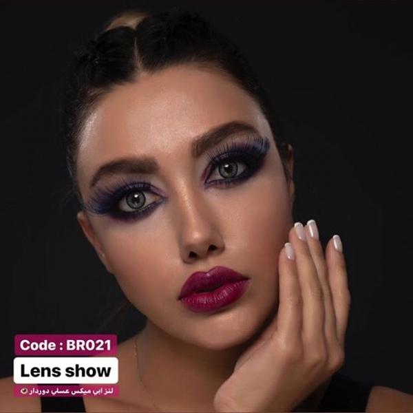 لنز رنگی آبی با مرکز عسلی دوردار لنز شو| لنز چشم | لنز طبی | 09127306039
